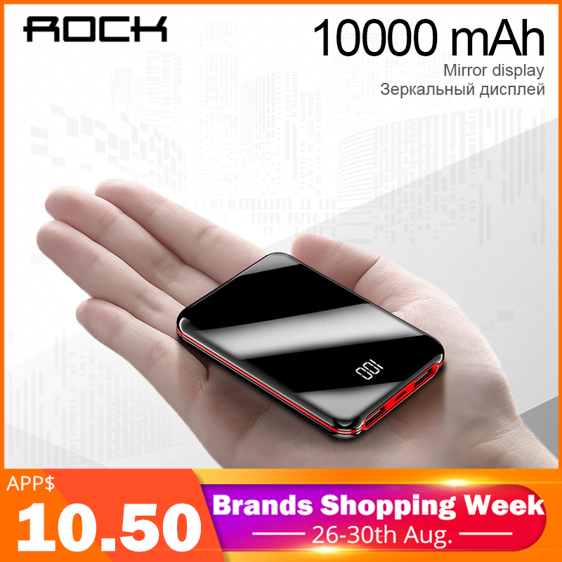 ROCK Power-Bank Lcd-Display Portable Charger External-Battery Fast-Charging Xiaomi iPhone