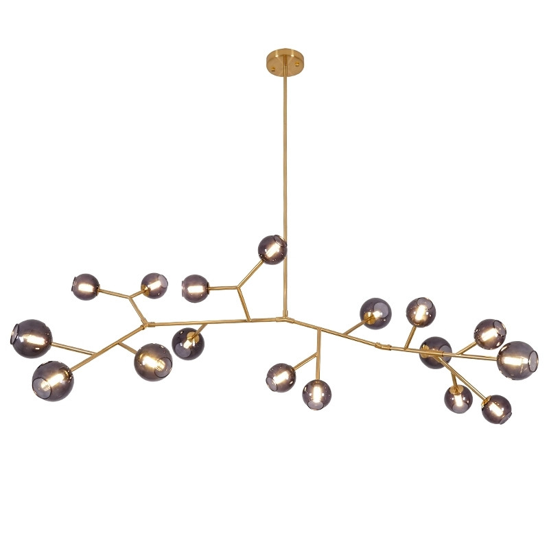 Modern Glass Chandelier Bubble Molecular Copper Chandelier Tree Branch For Hotel Living Room Bedroom Pendant Light Decor PA0632