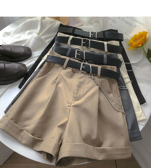 Ashgaily 2021 New Shorts Women Vintage Sashes All-match Solid High Waist Shorts Casual Loose Ladies XL 1