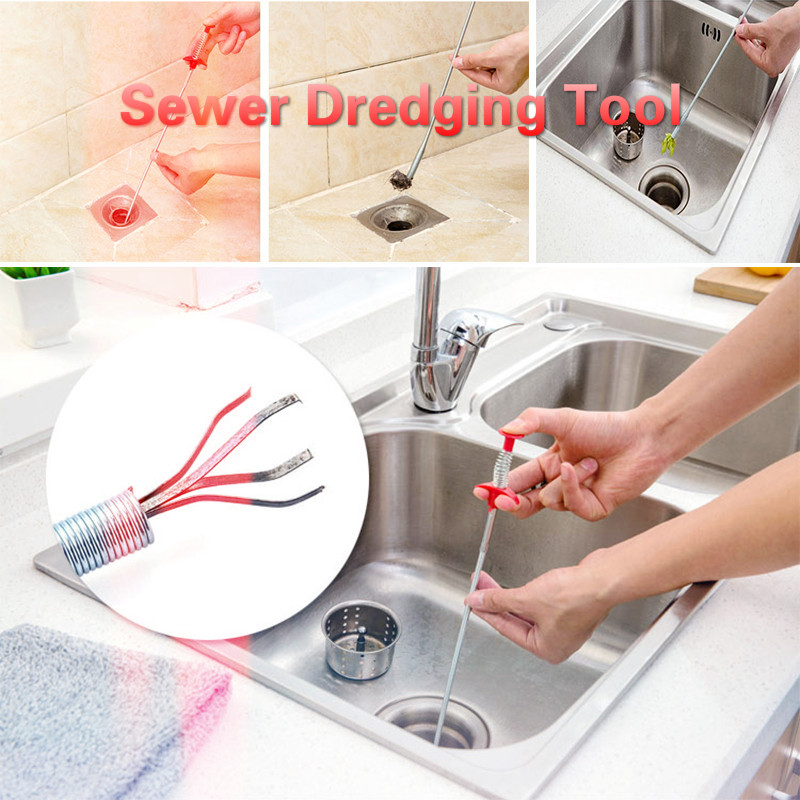 60 Cm Multifunctional Flexible Spring Sewer Dredging Tool Sink Sewer Hair Cleaner Claw Sewers Pipeline Bath Kitchen Clean Tools