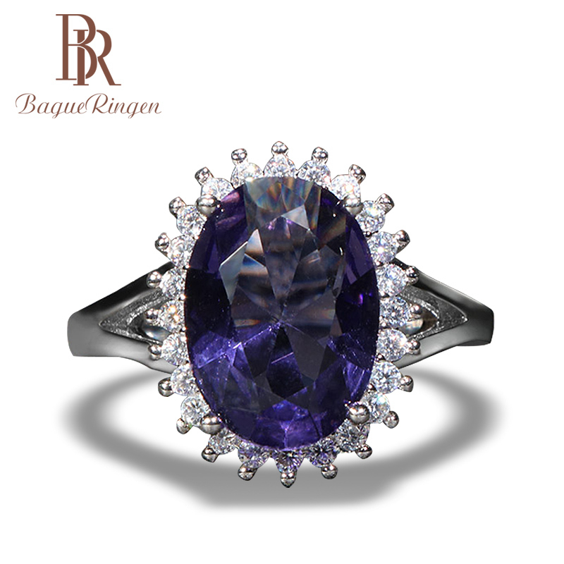 Bague Ringen Classic 925 Sterling Silver Ring For Women With Oval Shape Big Gemstones Wedding Party Wholesale Gift Size 6-10