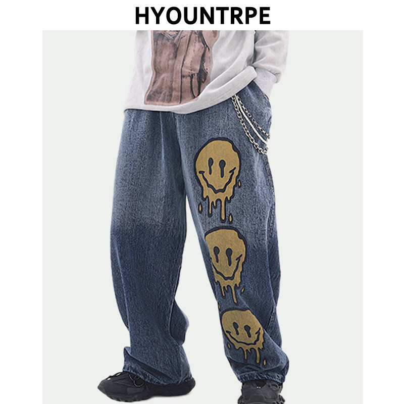 High Street Graffiti Printed Denim Pants Mens Elastic Waist Loose Straight Jeans Hip Hop Streetwear Casual Wide Legs Joggers