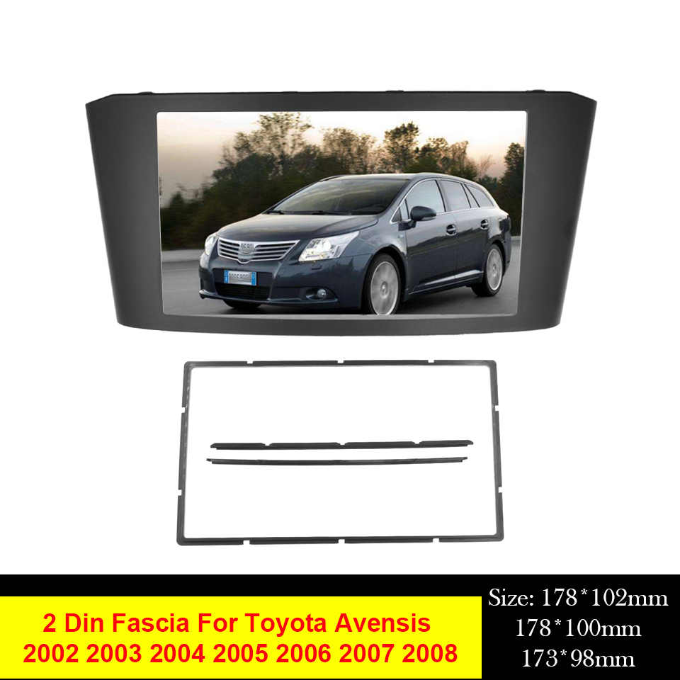 Double 2 Din Fascia Fit Voor Toyota Avensis 2002-2008 Facia Radio Dvd Stereo Cd Panel Dash Kit Trim fascia Gezicht Plate Frame