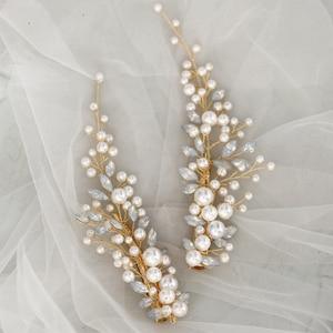 Image 4 - Crystal Bridesmaid Headdress Opal Bridal Hair Clip Hairpin Handmade Gold Bride Head Piece For Women Wedding Party Accessories