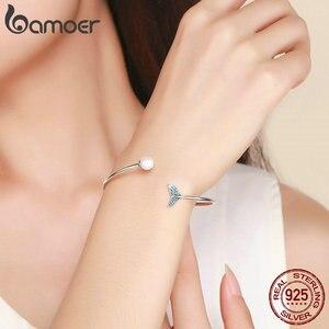 Image 5 - BAMOER pulsera de plata de ley 100% Plata de Ley 925 con cola de sirena azul, brazalete con perlas, joyería de plata delicada SCB123