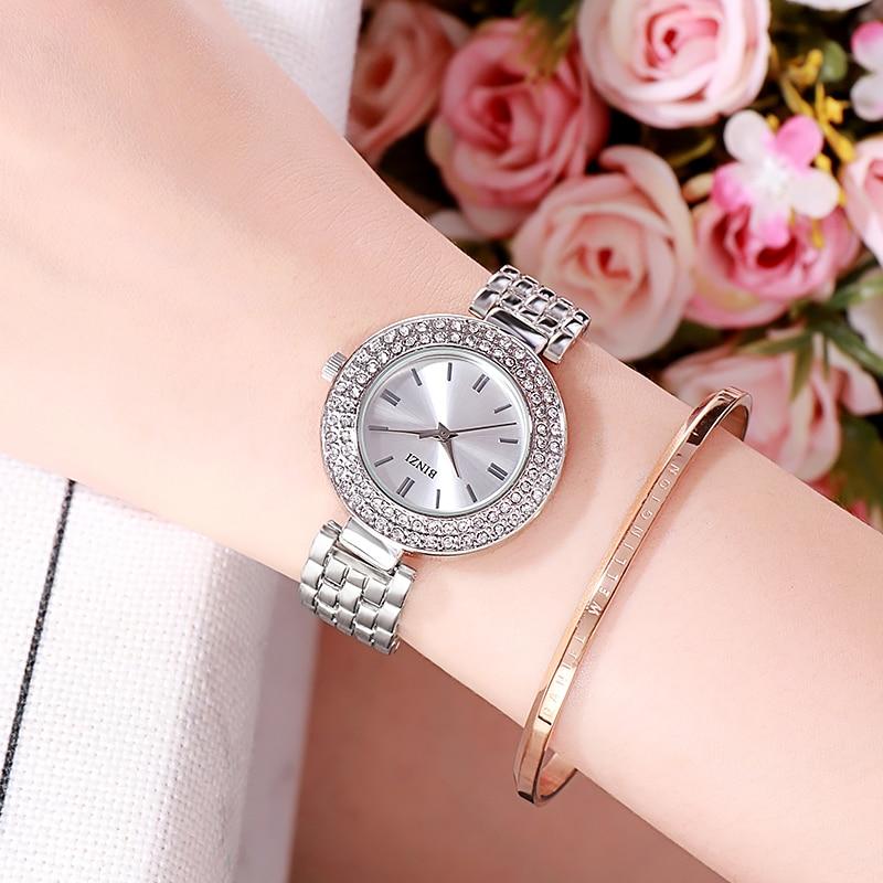 Elegant Silver Luxury Women Watches Romantic Diamond Rhinestone Bracelet Lady Wrist Waterproof Clock relogio feminino