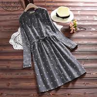 Gray Navy Blue Casual Loose Dresses 2019 Spring Autumn Mori Girl Women Dress Dot Printed Full Sleeve Female Vestidos 3706 50