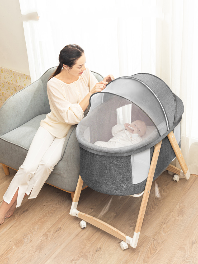 Crib Foldable Portable Cradle Bed Newborn Multifunctional Baby Twins Shake Removable