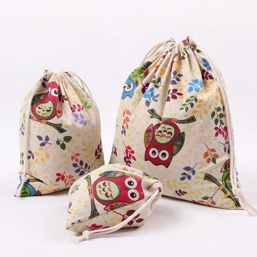 Cartoon Cute Owl Cat Canvas Shopping Bag Eco Folding Reusable Drawstring Cotton Shopper Tote Bags Pouch For Women Lady #T5P