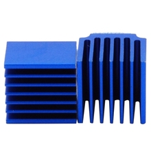 10 Pcs 3D Printer Onderdelen Blauw Aluminium Stepper Driver Heatsink Voor TMC2100 LV8729 TMC2208 TMC2130