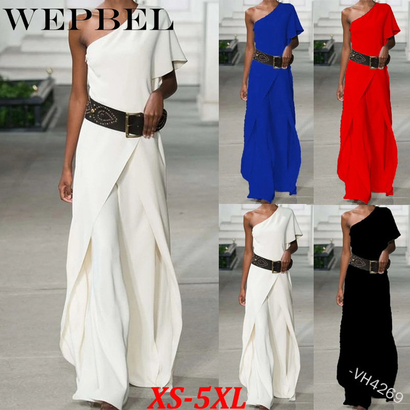 WEPBEL Women's Fashion Slash Neck Pullover Sleeveless Temperament Wide Leg Pants Two-Piece Set Casual