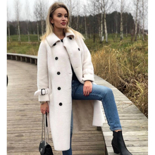 Sheepskin-Coat Jacket Collar Real-Fur-Coat Woolen TOPFUR Winter Women Genuine-Leather