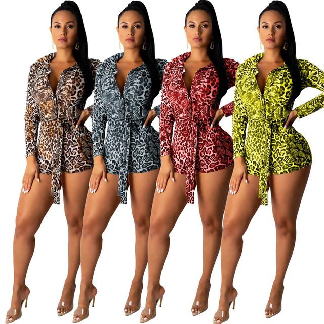 Women leopard Print Playsuit Elegant Long Sleeve Turn-Down Collar Short Jumpsuit Rompers Night Club Outfits Sexy Sostumes 2019 1