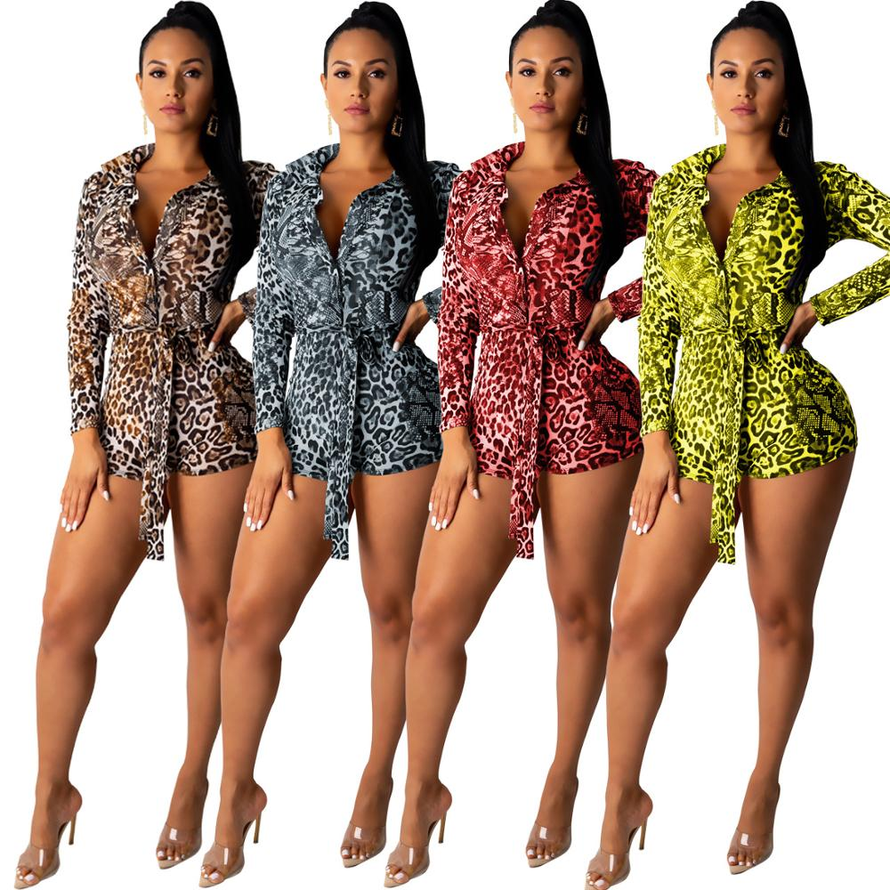 Women Leopard Print Playsuit Elegant Long Sleeve Turn-Down Collar Short Jumpsuit Rompers Night Club Outfits Sexy Sostumes 2019