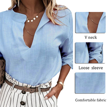 Fashion Sexy Ladies Blouse Loose Long Sleeves V-Neck Linen Shirt Ladies Shirt