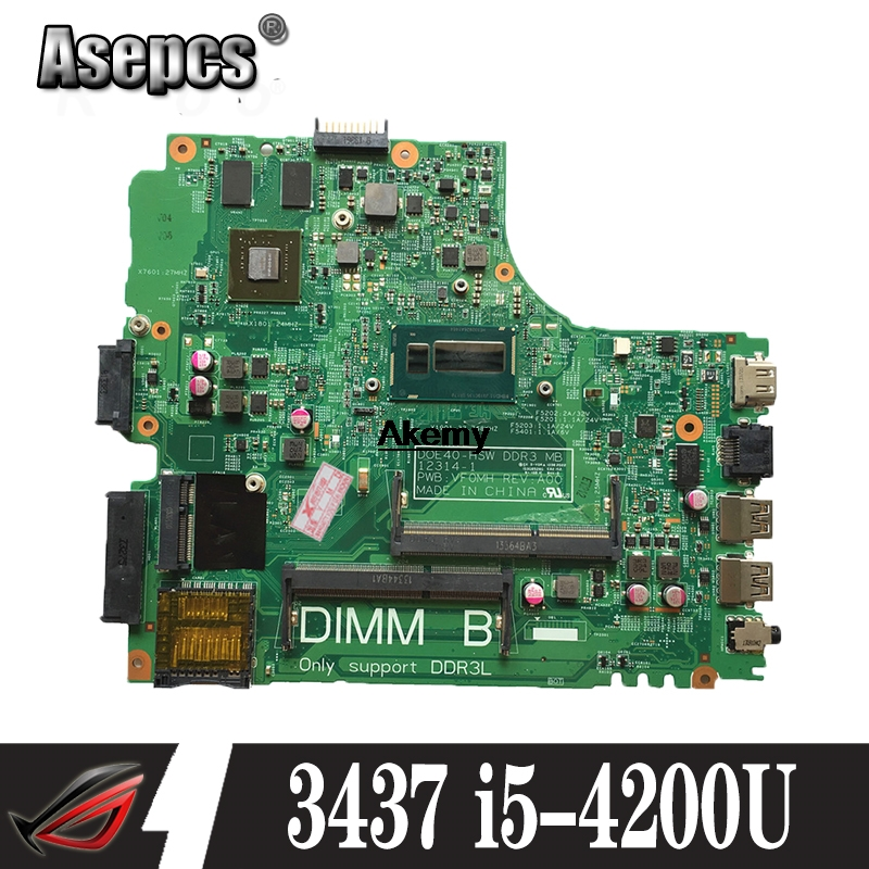 Buy brand new FOR Dell Inspiron 3437 5437 Laptop Motherboard I5-4200U GT720M/2G CN-0YFVC4 12314-1 DOE40-HSW PWB:VF0MH REV:A00 for only 202.96 USD