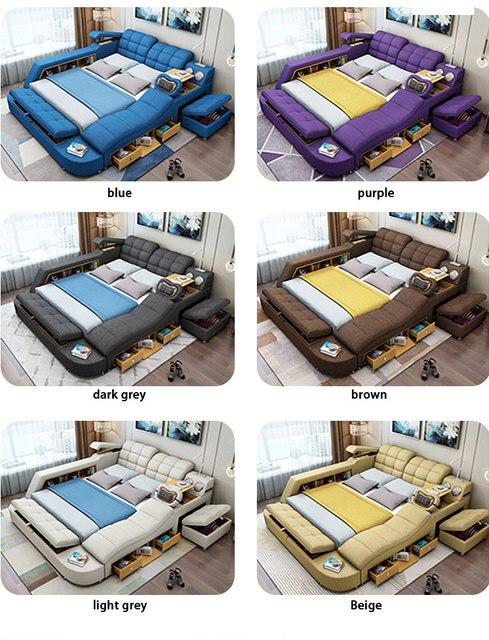 سرير تاتامي لأثاث غرف النوم سرير عصري بسيط يمكن إزالته وغسله من القماش 1.8 متر ماستر سرير مزدوج متعدد الوظائف 6