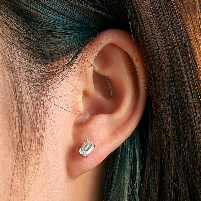 2pcs 0.7ct Baguette Moissanite Diamond Stud Earrings 100% 925 Sterling Silver For Women Girls Men Special Christmas Gift 1.4CTW 6