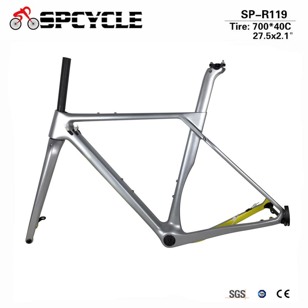 New Modle Carbon Gravel Bike , Gravel Frame With 700*40c Tires, Cyclocross Disc Frame With Brake Adapter Thru Axle Road Frame