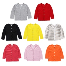 Children Kids Sweater Autumn Baby Boy Girl Coat Cardigan Striped Solid Print Kni