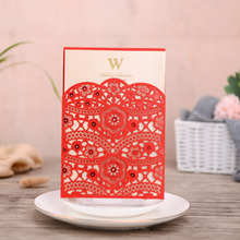 50pcs Red Laser Cut Wedding Invitations Card Lace Flora Elegant Invites Customize For Marriage Party Favor Supplies