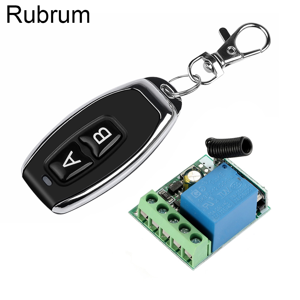 Rubrum RF Transmitter 433 Mhz <font><b>Remote</b></font> Controls Wireless <font><b>Remote</b></font> Control Switch DC 12V 1CH Relay Receiver Module For Garage <font><b>Door</b></font> image