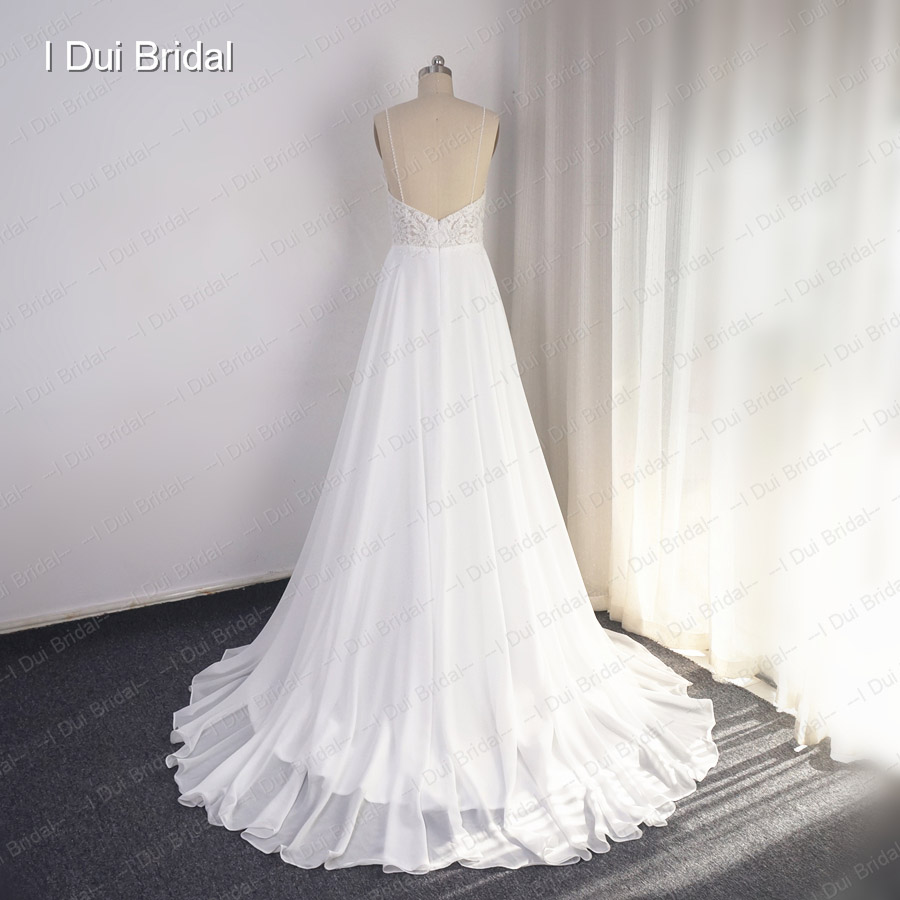 Image 2 - Spaghetti Strap Wedding Dress A Line Lace Appliqued Pearl Beaded Top Tulle SkirtWedding Dresses   -