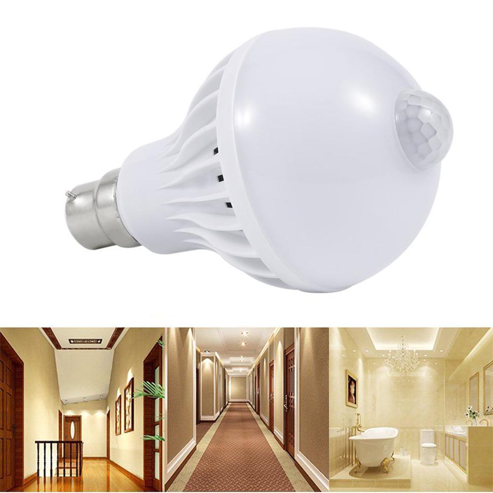 9 Вт B22 Светодиодный PIR датчик движения лампа обнаружения холодный белый лампа открытый свет датчик движения Индукционная лампа умная лампа