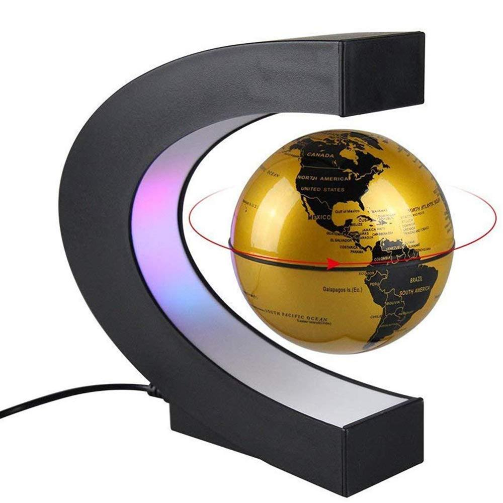 C Shape Magnetic Levitation Floating Globe World Map With LED Light Gifts School Teaching Equipment Home Office Desk Decoration