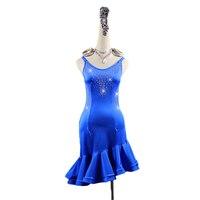 Kids Girls High Quality Latin Dance Competition Dresses Blue Rhinestones Ballroom Dancewear Women Rumba Samba Dress Custom Made