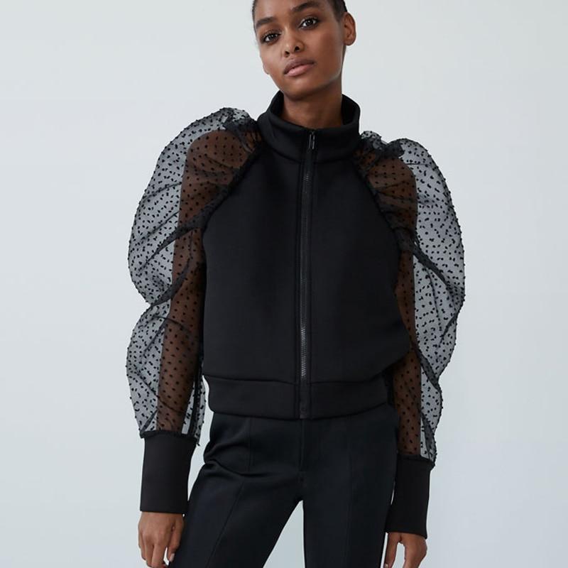 RR Stand Collar Jackets Women Fashion Translucent Long Sleeve Coats Women Elegant Zipper Solid Jackets Female Innrech Market.com