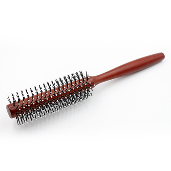Mythus Wood Round Hair Curly Comb With Ball Tip Anti Static Natural Styling Brush Barber Tool