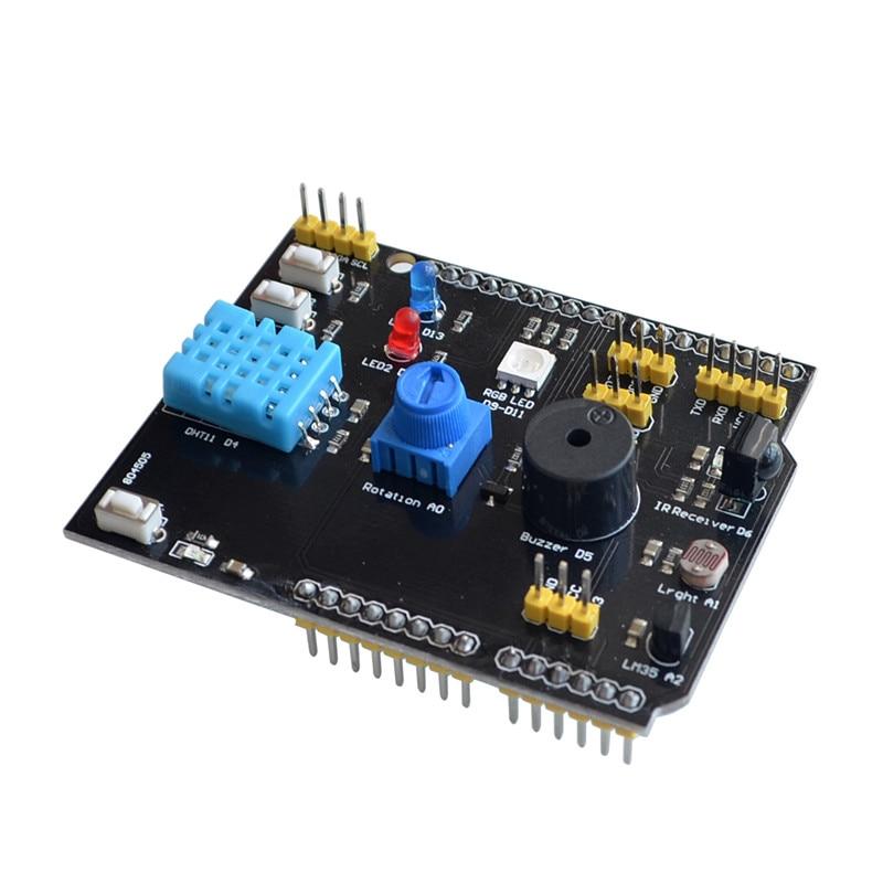 Датчик температуры и влажности DHT11 LM35, многофункциональная Плата расширения, адаптер для Arduino UNO R3 RGB, светодиодный ИК-приемник, зуммер I2C