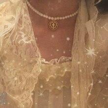 Retro menina palácio oco amor cruz pingente colar de pérolas chocker clavícula corrente colar de jóias para mulher contas