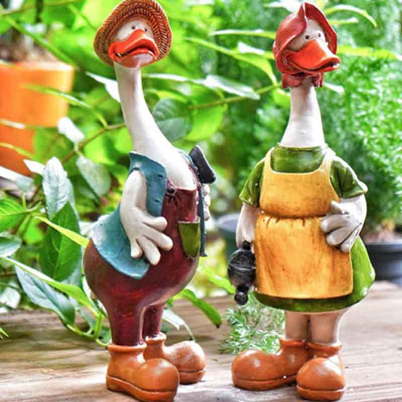 Duck Ornaments Resin Artificial Duck Garden Sculpture Animal Statue Couple Decoration Simulation Pond Decor Landscape Crafts