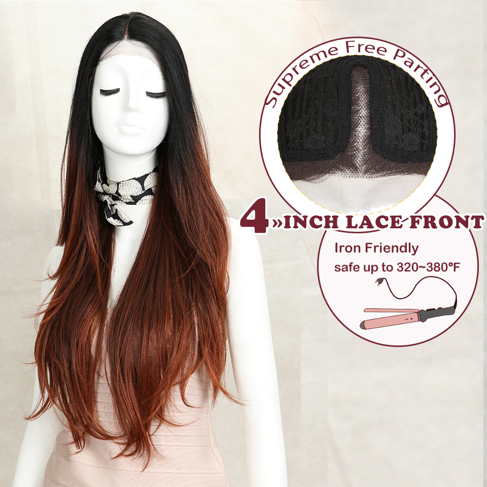 "Magic 30"" Medium Brown Color Synthetic Hair Wigs For Women Long Natural Wavy Lace Front Wig With Natural Hairline Middle Part"