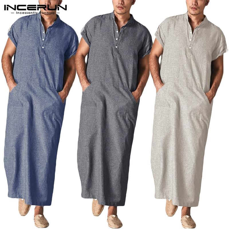 INCERUN Muslim Kaftan Men Islamic Arabic Clothes Stand Collar Short SLeeve Pockets Retro Robes Abaya Solid Men Jubba Thobe S-5XL