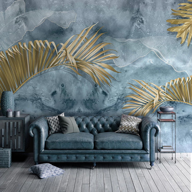 Custom Mural Wallpaper Modern Abstract Blue Cement Wall Plant Golden Leaves Wall Painting Living Room TV Sofa Bedroom Wallpapers