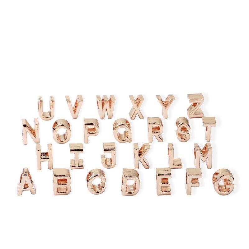 free shipping MOQ 1pc rose gold initial letter alphabet diy bead fit  original pandora charms bracelet jewelry X003-2