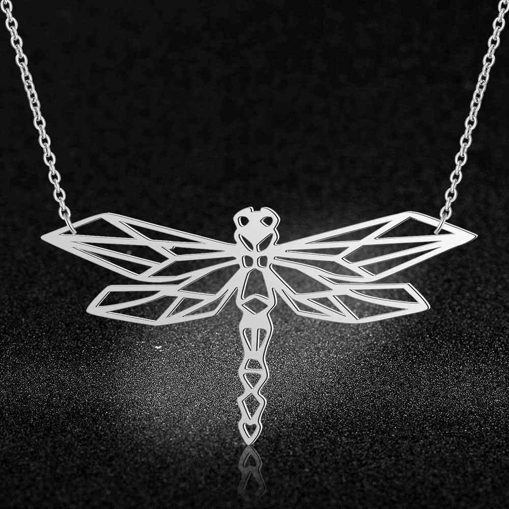 100% Real Stainless Steel 40cm Dragonfly Long Necklace Personality Jewelry Super Quality Italy Design