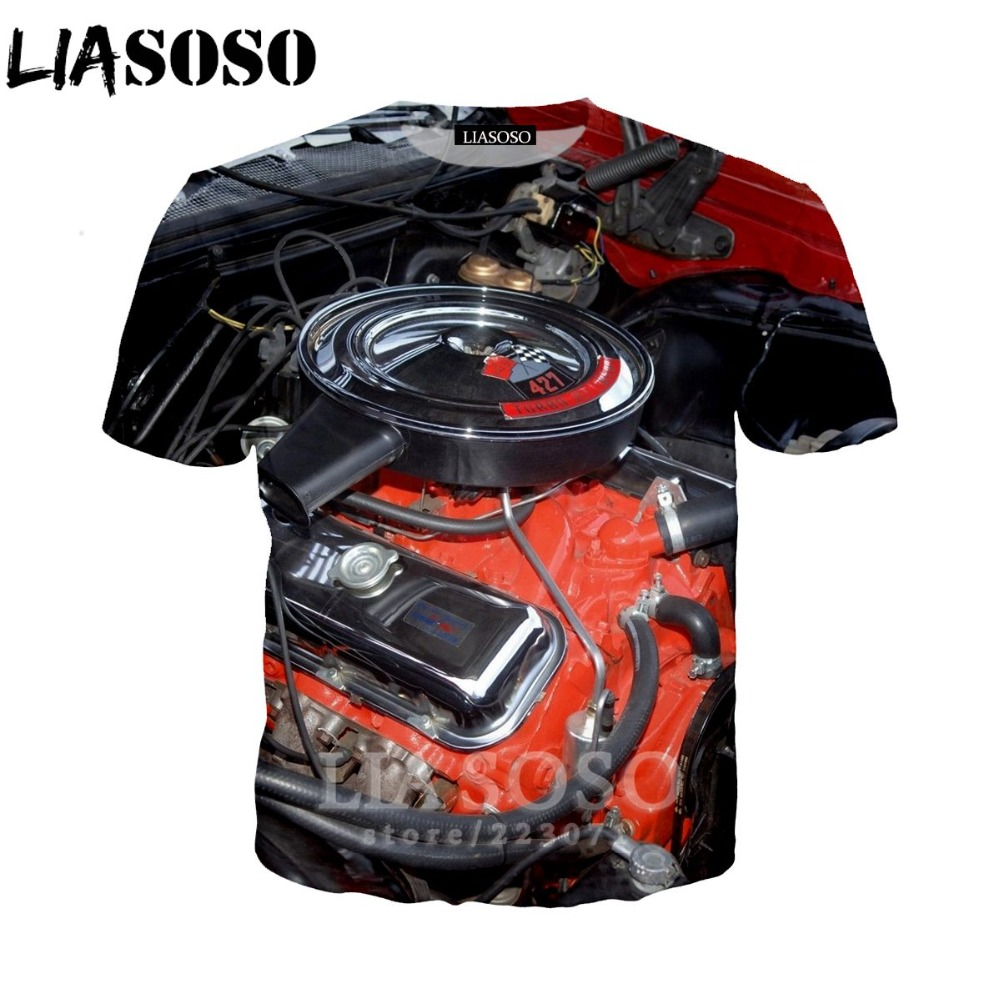 LIASOSO Women Sweatshirt 3D Print Engine T Shirt Car Parts Men`s T-shirts Machinery Men Cartoon Tshirt Harajuku Beach Tees D013-2 (24)