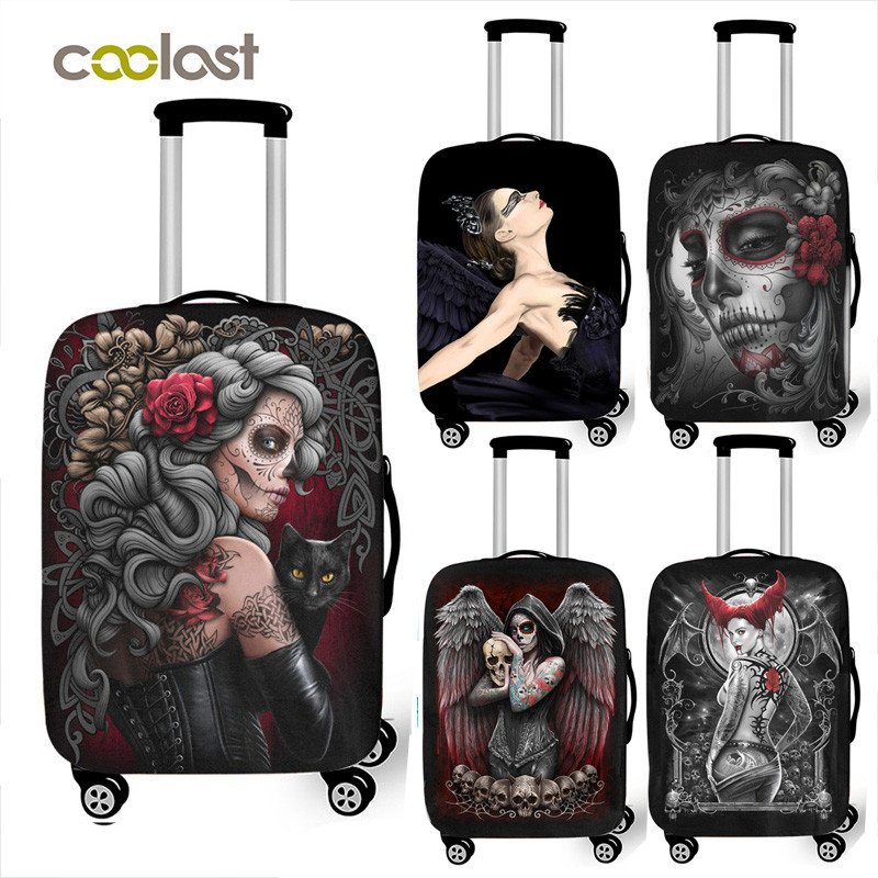 Cool Punk Gothic Skull Travel Suitcase Cover For 18 -32  Inch Luggage Trolley Case Covers Anti-dust Luggage Protective Cover