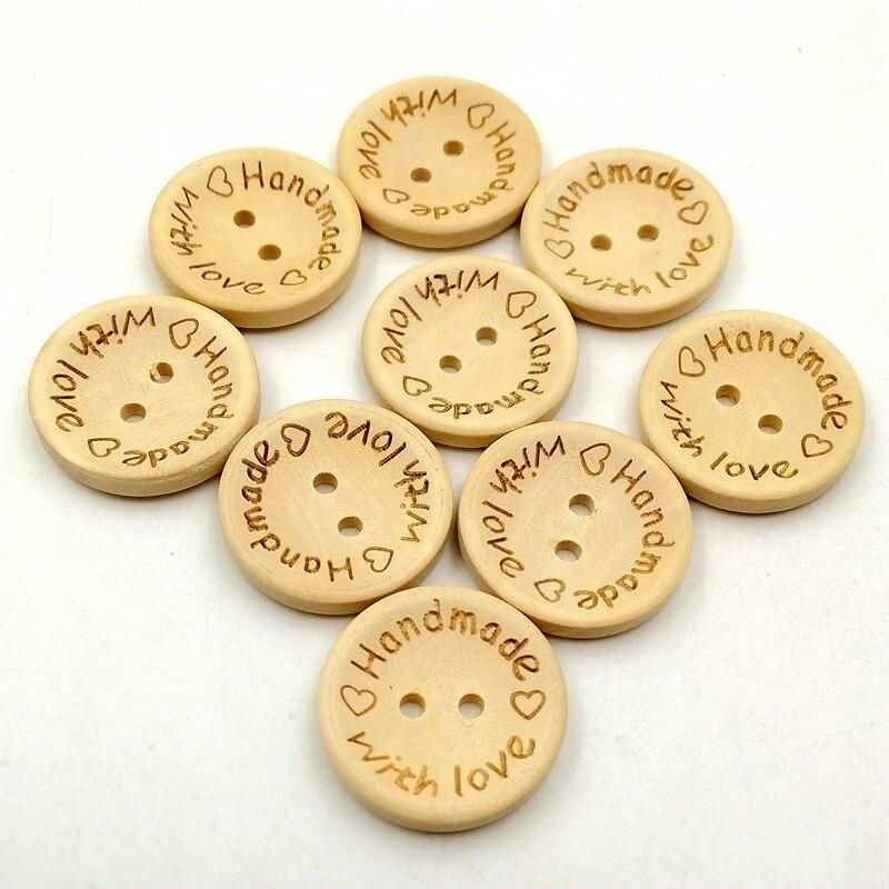 50 шт., 15, 20, 25 мм, деревянная кнопка, натуральный цвет, 2 отверстия на одежде, кнопки, аксессуары, ручная работа, с любовью, для шитья, сделай сам, ...