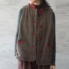 Johnature 2019 Autumn Winter Cotton Linen Plaid Pockets All match Women Warm Vest New Leisure Fashion Single Breasted Retro Vest