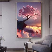 Персиковое дерево диван спальня декоративная живопись фон Стена