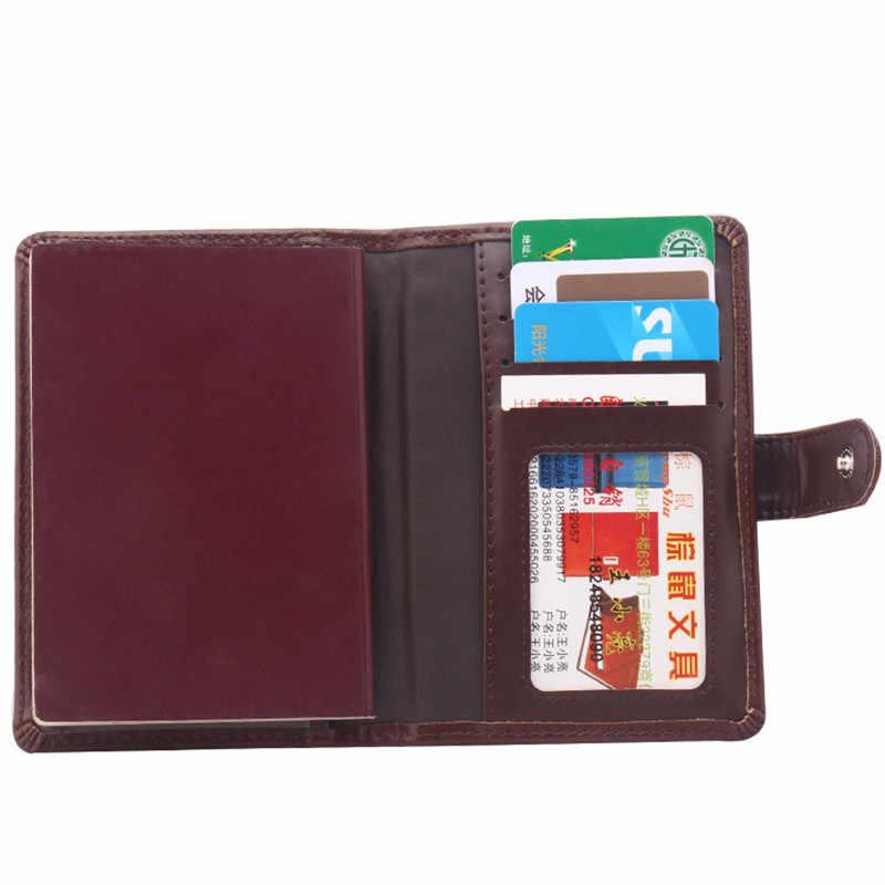 Cuir passeport couverture hommes voyage portefeuille ID affaires crédit porte-carte housse pochette permis de conduire russe portefeuille porte-documents