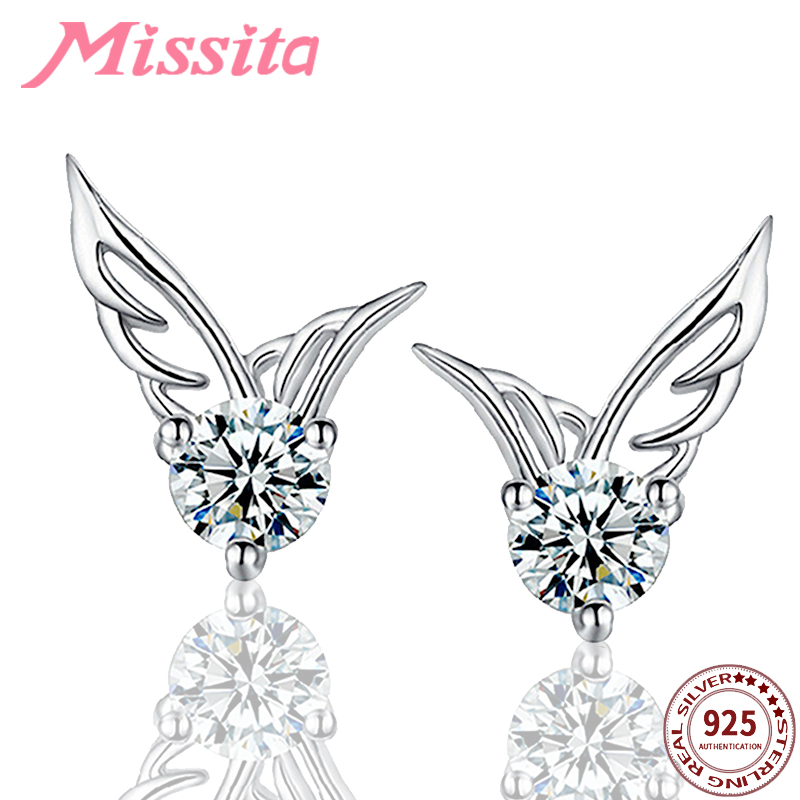 MISSITA 925 Sterling Silver Glitter Angel Wings Stud Earrings Fashion Jewelry Wedding Earring for Women New