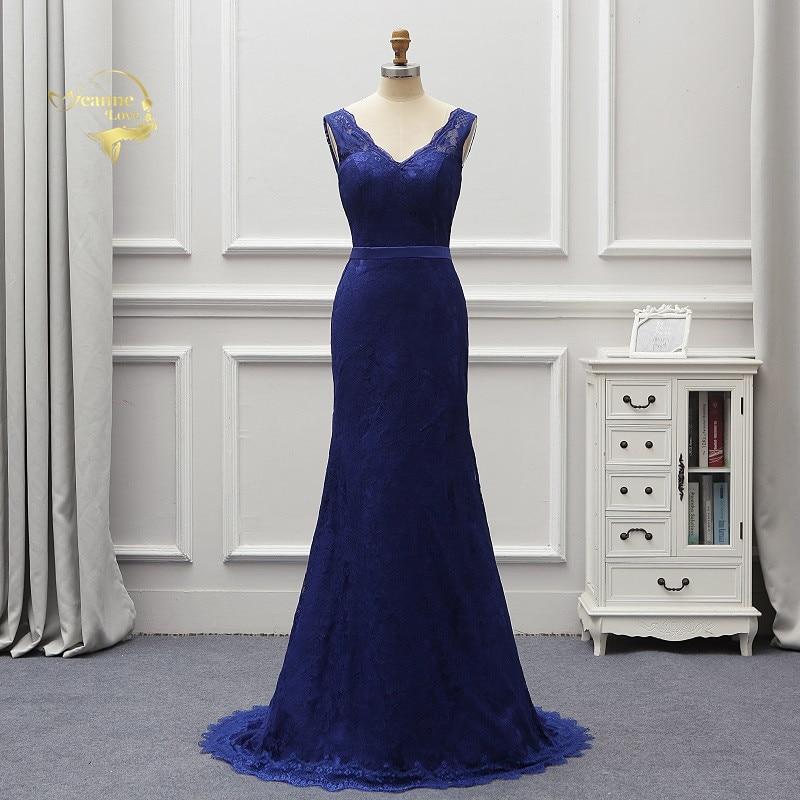 Abendkleider 2019 Royal Blue Long Formal Dresses Lace Evening Dresses Sweep Train Backless Lady Party Gown Robe De Soiree EV016