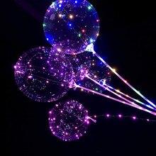 18/24 polegada lidar com led balão vara luminosa hélio globos led balões festa de aniversário casamento decorat crianças led balão luz