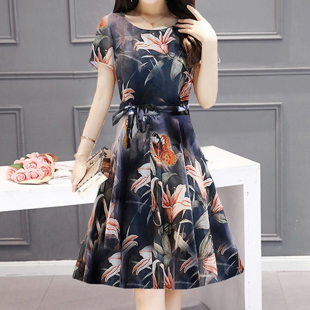 #30 Women Elegant Dress Printing Short Sleeve O Neck Robe Loose Dress Sweet Fashion Dress Plus Size Dress Summer Dress